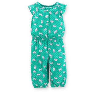Baby Girl Kitty Print Jersey Jumpsuit Coveralls
